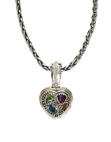 Effy 18k Yellow Gold and Silver Diamond and Multi Coloured Pendant-SILVER-One Size