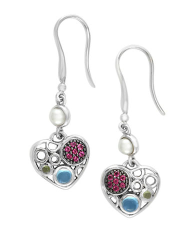 Effy 925 Sterling Silver Blue Topaz, Pink Tourmaline, Peridot Heart Earrings-MULTI-One Size