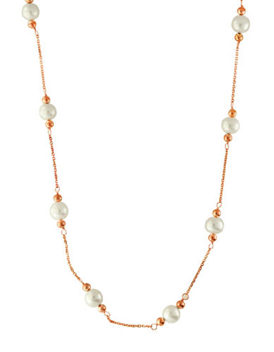Effy 14K Rose Gold Freshwater Pearl Station Necklace-WHITE-One Size