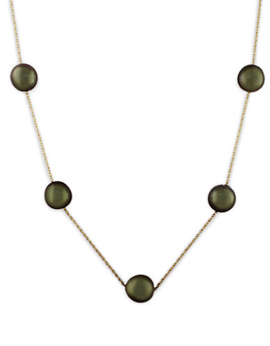 Effy 14K Yellow Gold Tahitian Pearl Necklace-BLACK-One Size