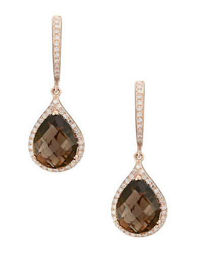 Effy 14K Rose Gold Diamond and Quartz Earrings-DIAMOND/QUARTZ-One Size