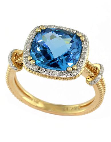 Effy 14K Yellow Gold Diamond and Blue Topaz Ring-TOPAZ-One Size