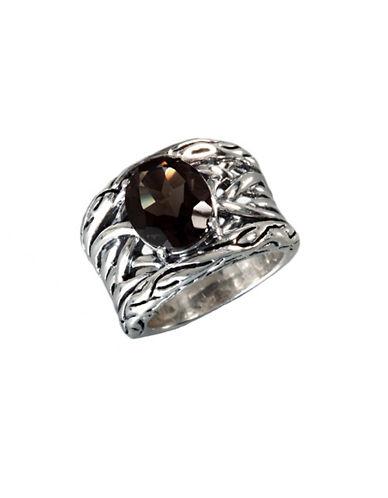 Effy Sterling Silver Smokey Quartz Weave Ring-SMOKEY QUARTZ-7
