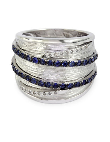 Effy 0.09 TCW Diamond, Sapphire Layer Ring-BLUE-7