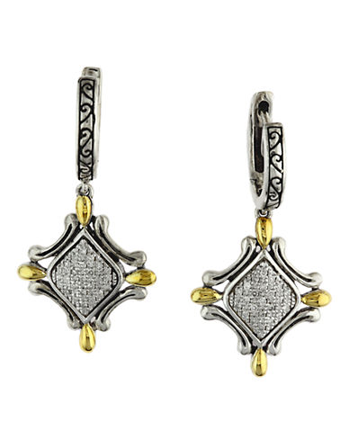 Effy 18k Yellow Gold and Silver Diamond Earrings-DIAMOND-One Size
