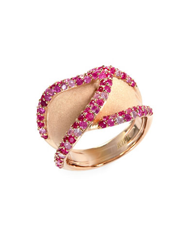 Effy Sapphire, Ruby, Rose Gold Rhodium-Plated Sterling Silver Ring-RUBY-7