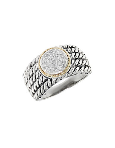 Effy Balissima Sterling Silver with 18Kt Yellow Gold Pave Circle Diamond Ring-SILVER-One Size