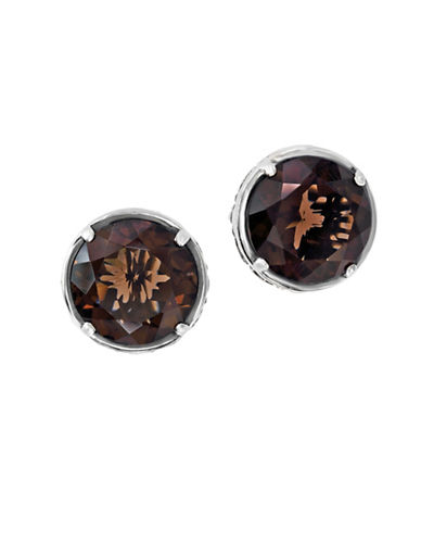 Effy 925 Sterling Silver and Smokey Quartz Earrings-BROWN-One Size