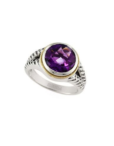 Effy 18K Yellow Gold and Sterling Silver Amethyst Ring-AMETHYST-7