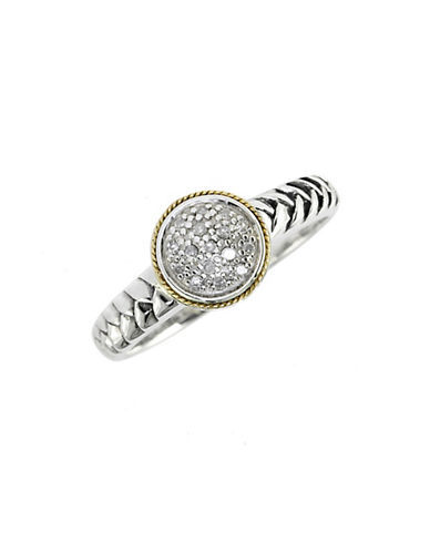 Effy EFFY 18K Yellow Gold And Silver Diamond Ring-SILVER-7