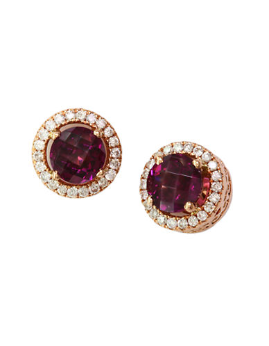 Effy 14K Rose Gold Diamond And Rhodolite Earrings-DARK RED-One Size