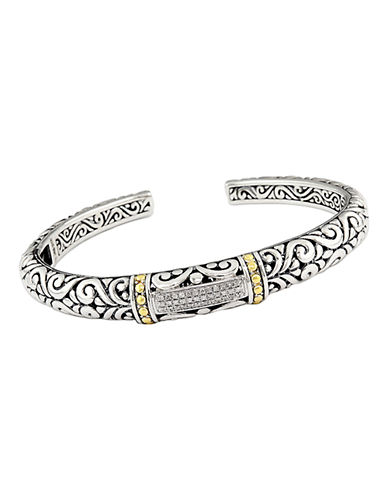 Effy Sterling Sterling 18K Yellow Gold And Diamond Bangle-DIAMOND-One Size
