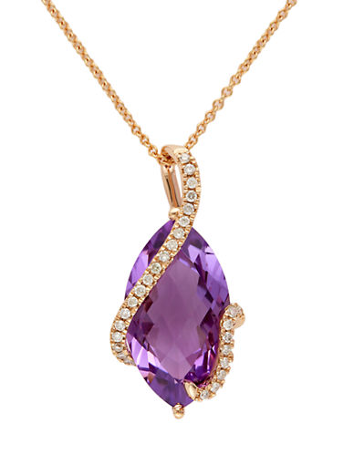 Effy 14K Rose Gold  Diamond And Amethyst Pendant-AMETHYST-One Size