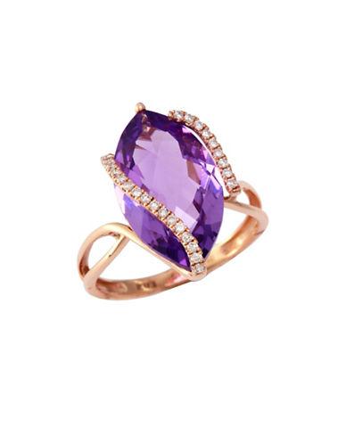 Effy 14K Rose Gold  Diamond And Amethyst Ring-AMETHYST-7