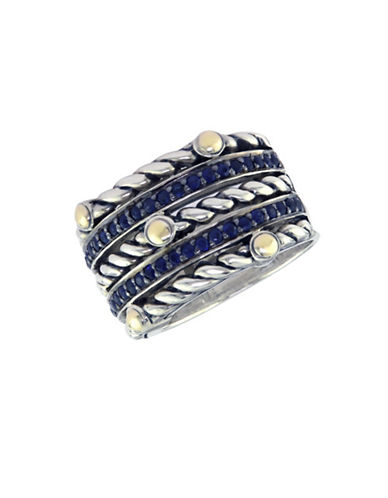 Effy 18K Yellow And Sterling Silver Sapphire Ring-BLUE-7