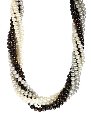 Effy Sterling Silver Multi Coloured Pearl Necklace-MULTI COLOURED-One Size