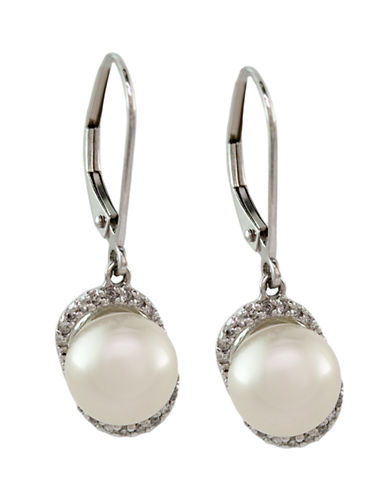 Effy 14K White Gold Diamond And Freshwater Pearl Earrings-PEARL-One Size