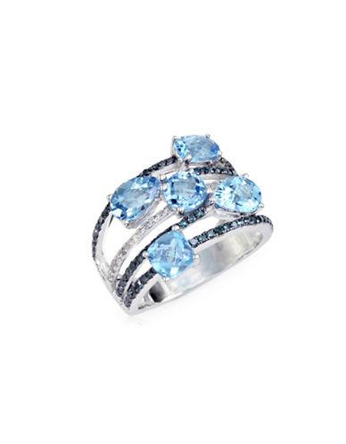 Effy 14K White Gold, Blue Topaz Multi-Row with 0.52TCW Two-Tone Diamond Ring-BLUE-7