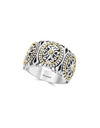 Effy 925 Sterling Silver  18K Yellow Gold filigree Ring-SILVER-7