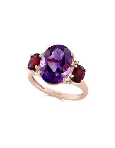 Effy 14K Rose Gold Amethyst, Garnet, and 0.02TCW Diamond Ring-PURPLE-7