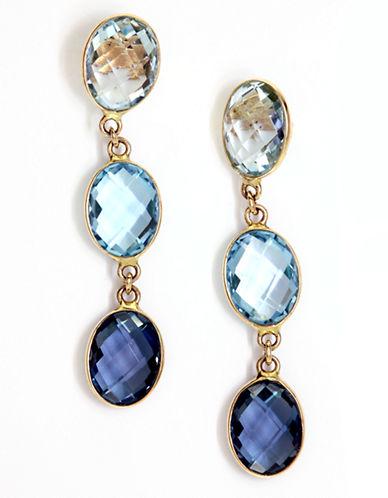 Effy 14K Yellow Gold Blue Topaz Earrings-TOPAZ-One Size
