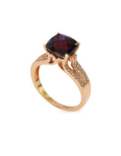 Effy 14K Rose Gold Garnet Ring with 0.13 TCW Diamonds-GARNET-7