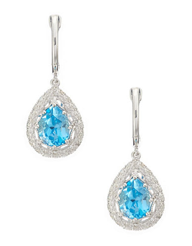 Effy 14K White Gold Diamond And Blue Topaz Earrings-BLUE TOPAZ-One Size