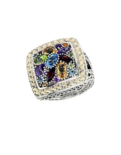Effy 925 Sterling Silver And 18k Yellow Gold Multi Colour Semi Precious Ring-MULTI COLOURED-7