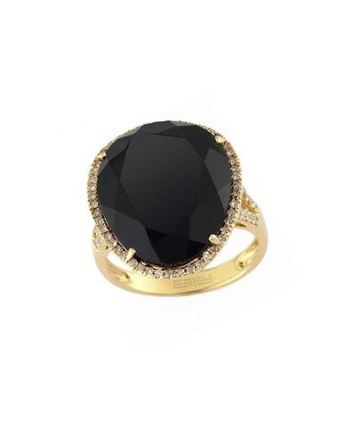 Effy 14k Yellow Gold Diamond and Onyx Ring-ONYX-7