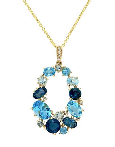 Effy 14K Yellow Gold Diamond and Blue Topaz Pendant-DIAMOND-One Size