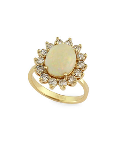 Effy 14K Yellow Gold  Opal Ring with 0.96 TCW Diamonds-OPAL-7