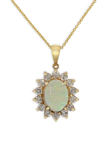 Effy 14K Yellow Gold Opal Pendant Necklace with 0.96 TCW Diamonds-OPAL-One Size