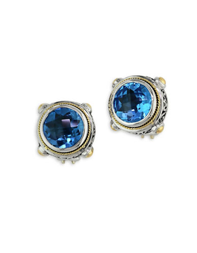 Effy 18K Yellow Gold and Sterling Silver Blue Topaz Stud Earrings-BLUE TOPAZ-One Size
