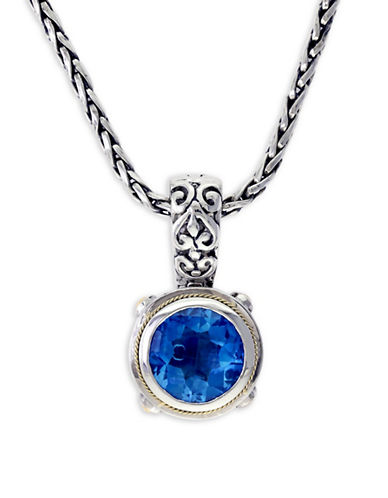 Effy 18K Yellow Gold and Sterling Silver Blue Topaz Pendant Necklace-BLUE TOPAZ-One Size