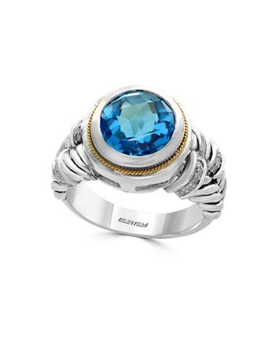 Effy 0.11 TCW Diamonds, Topaz, 18K Yellow Gold and Sterling Silver Ring-BLUE TOPAZ-7
