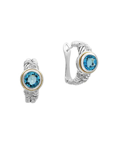 Effy 0.16 TCW Diamond, Blue Topaz, 18K Yellow Gold and Sterling Silver Earrings-BLUE TOPAZ-One Size