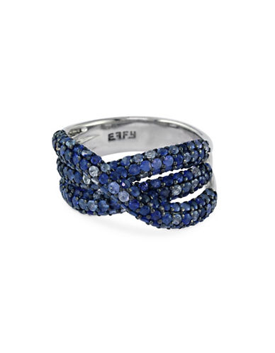 Effy Sapphire, Sterling Silver Twist Band Ring-BLUE-7