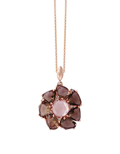 Effy 14K Rose Gold 0.07TCW Diamond, Smoky and Pink Quartz Pendant Necklace-BROWN-One Size