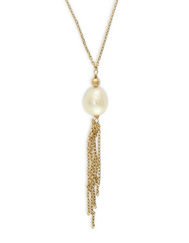Effy 8MM Freshwater Pearl 14K Gold Fringed Pendant Necklace-WHITE-One Size
