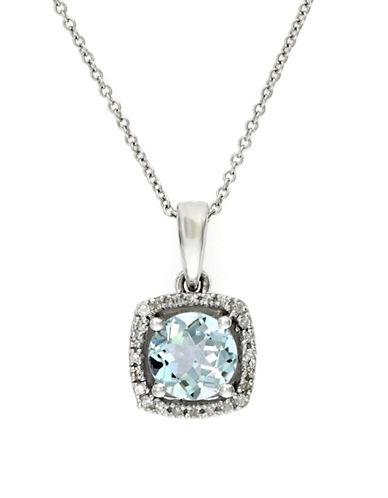 Effy 14K White Gold Diamond and Aquamarine Pendant-AQUAMARINE-One Size