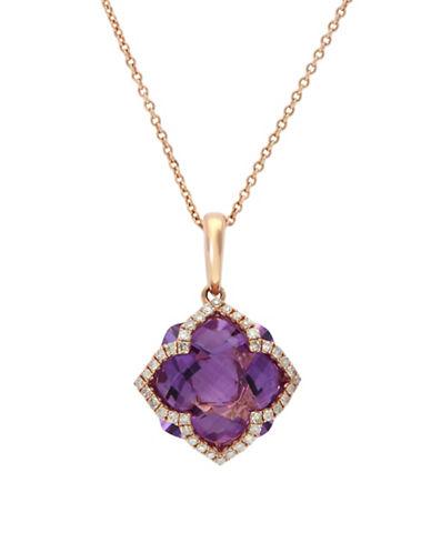Effy 14K Rose Gold Necklace 0.2 TCW Diamond-AMETHYST-One Size