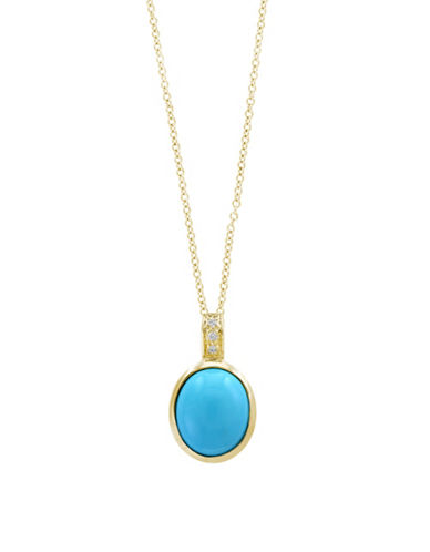 Effy Diamonds, Turquoise and 14K Yellow Gold Pendant Necklace-TURQUOISE-One Size