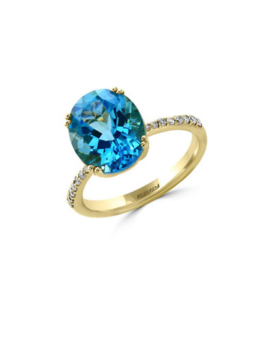 Effy 14K Yellow Gold Blue Topaz Ring with 0.14TCW Diamonds-BLUE TOPAZ-7