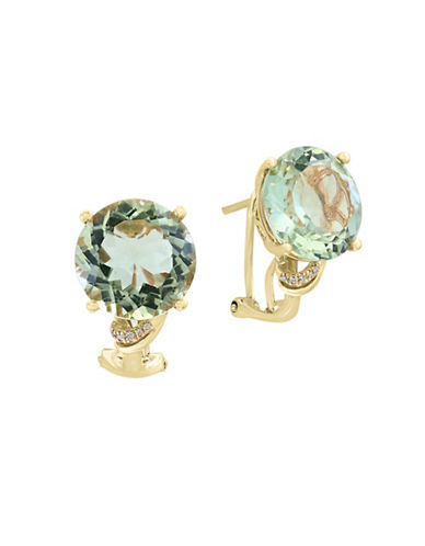 Effy 0.03 TCW Diamonds, Green Amethyst and 14K Yellow Gold Earrings-GREEN-One Size