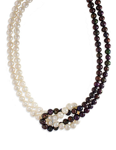 Effy Sterling Silver 6mm Freshwater Pearl and 5mm Dyed Black Pearl Necklace-PEARL-One Size