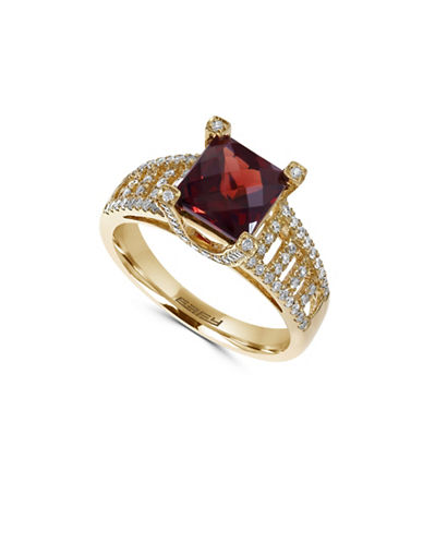 Effy 14K Yellow Gold, Garnet Square with 0.39TCW Diamond Ring-RED-7