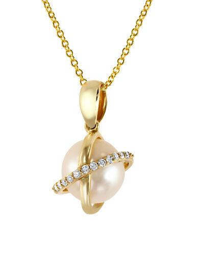 Effy Diamond and Cultured Freshwater Pearl 14K Gold Necklace-PEARL-One Size