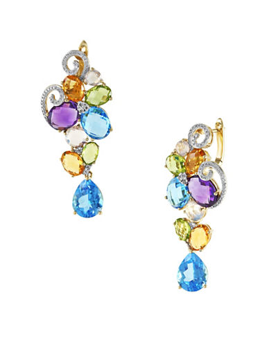 Effy 14K Yellow Gold Mixed Semi-Precious Stone Earrings with 0.19TCW Diamonds-MULTI-One Size