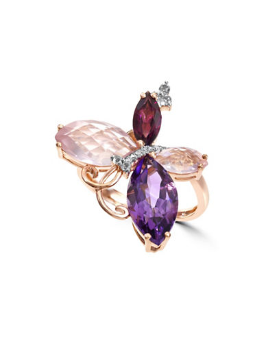 Effy 0.02 TCW Diamond, Multi-Stone, 14K Rose Gold Ring-PURPLE-7