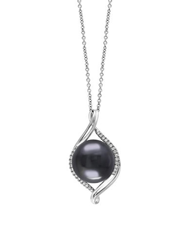 Effy 0.21 TCW Diamond and Tahitian Pearl Necklace-TAHITIAN-One Size